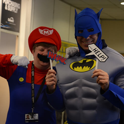 Batman And Mario Posing