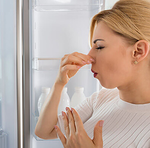 Woman Holding Nose By Fridge