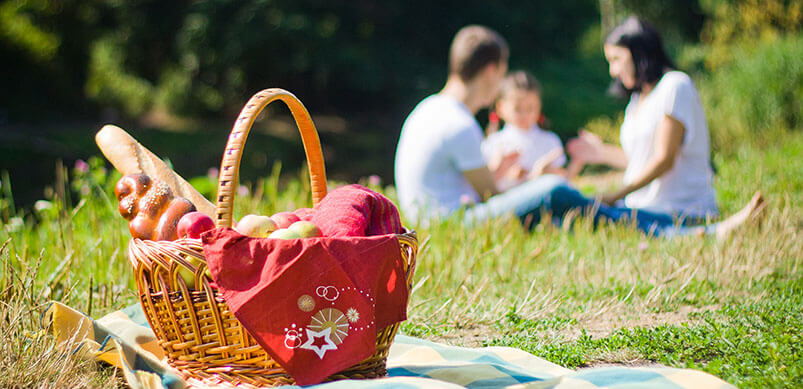 Picnic Basket With Family In Background