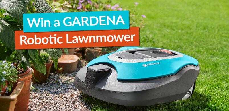 Robotic Lawnmower With Win Banner