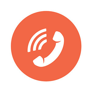 Telephone Icon In Orange Circle