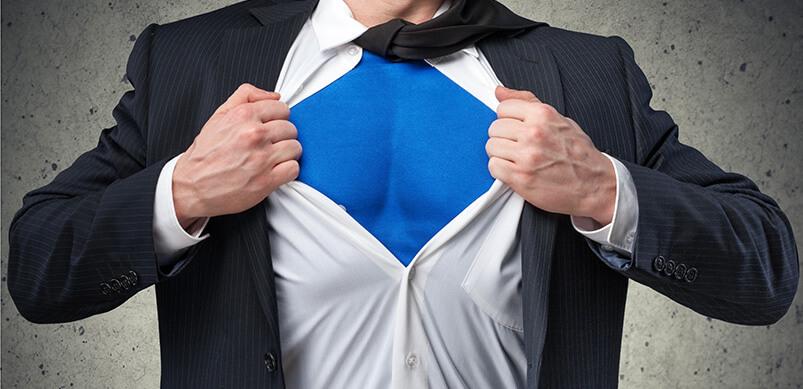 Superhero Costume Under Mans Shirt