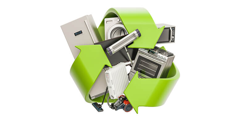 Green Recycle Symbol With Appliances, Inside