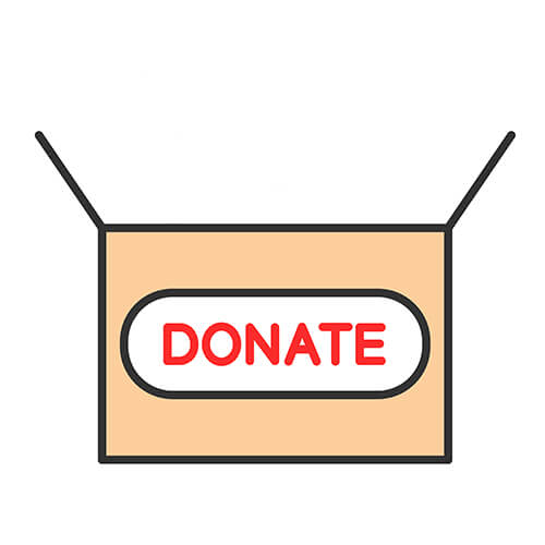 Cardboard Box With Donations Label