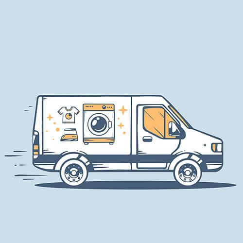 Animation Of Van With Washing Machine Inside