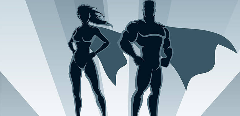 Shadow Of Male And Female Hero