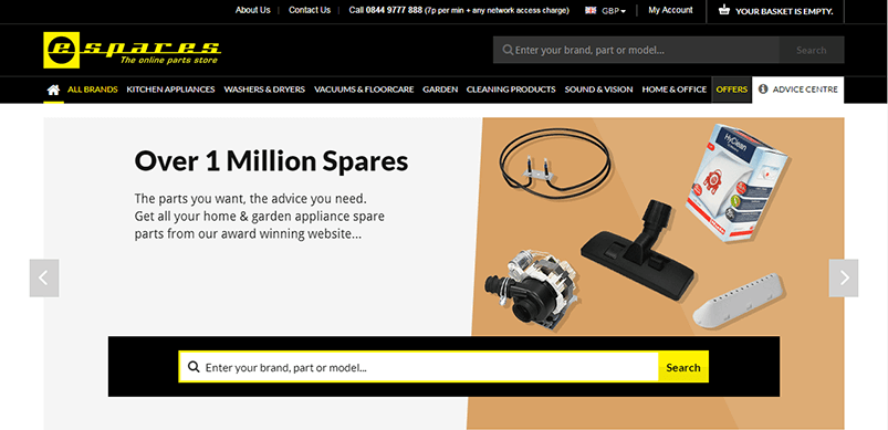 Screen Shot Of Espares Website