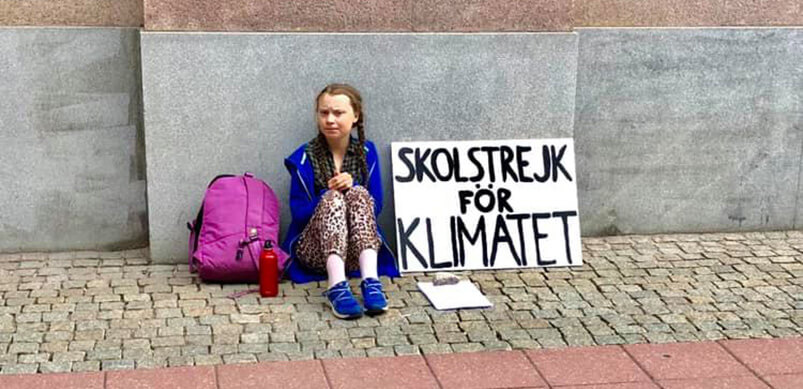 Greta Thunberg During Her Protest