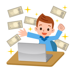 Animation Of Boy On Laptop With Money