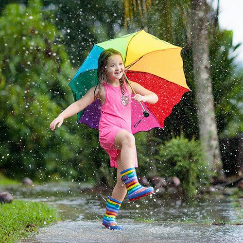 Child Dancing In Rain With Umbrella