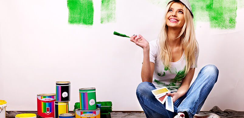 Woman Looking Happy Painting Walls