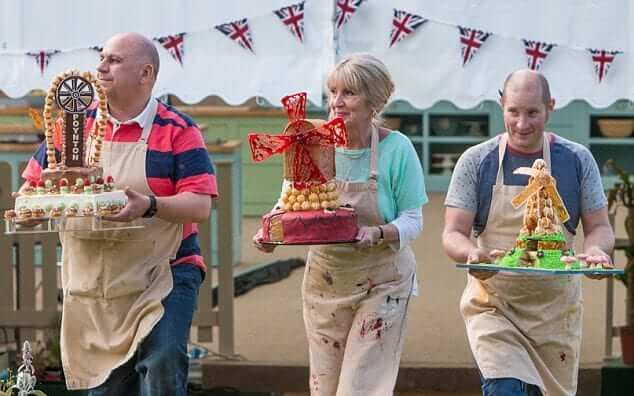 three bakers show their cakes
