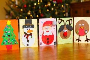 row of Christmas cards