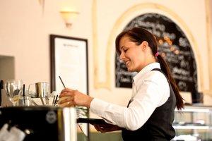 waitress holding a tray