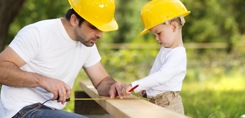 Dad And Son In Hard Hats