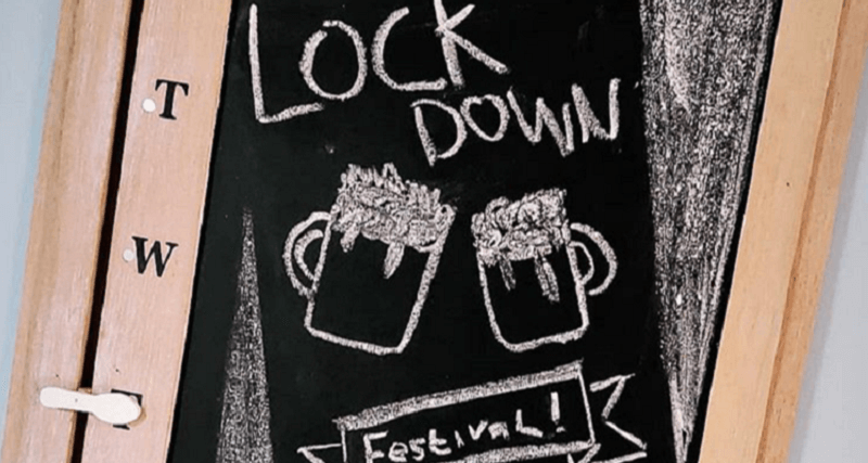 Chalk Board Sign Saying Lockdown Festival