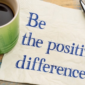 Note With Words 'Be The Positive Difference'