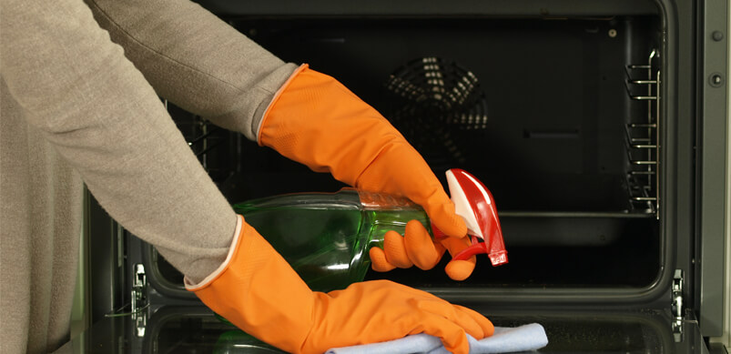Hands Cleaning Oven Shelves