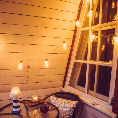 Fairy Lights On Balcony