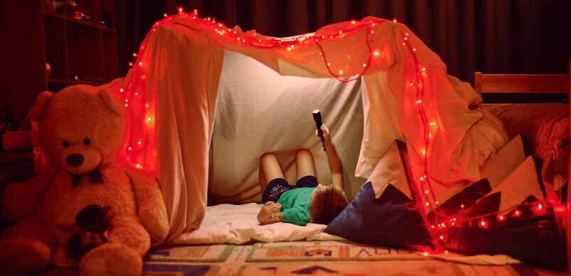 Boy In Tent Indoors