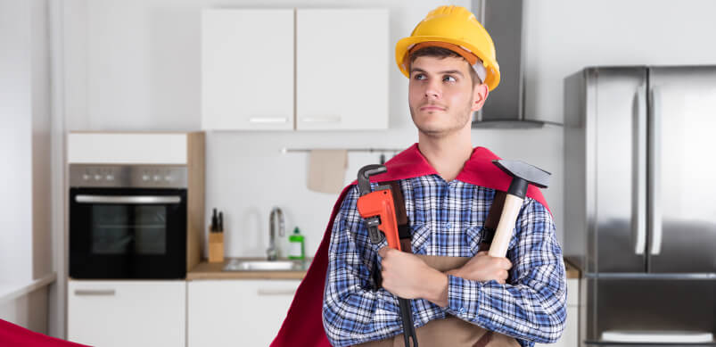 Man With Cape And Fixing Tools