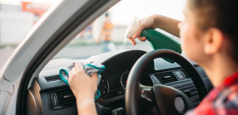 Woman Washing Car Interior