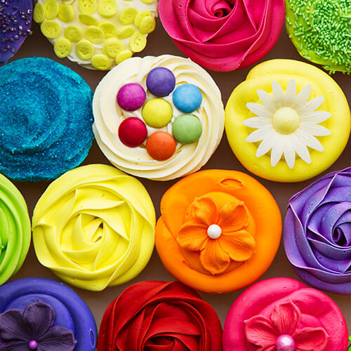 Colourful Decorated Cupcakes