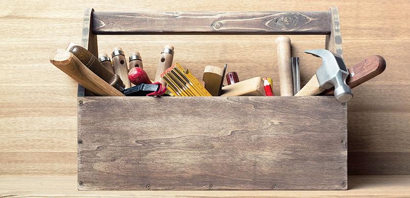 Wooden Box Full Of Tools