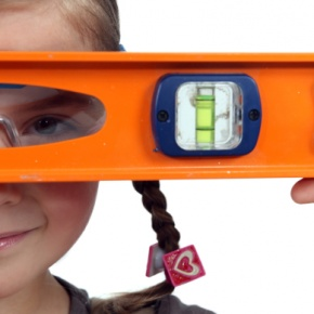 Girl Looking Through Spirit Level