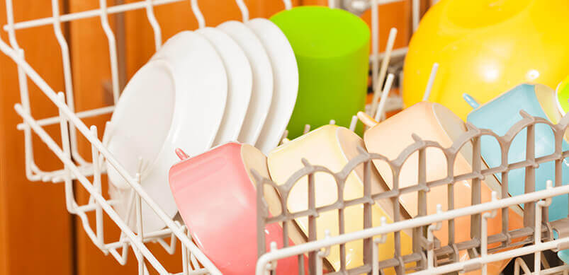 Colourful Dishes In Dishwasher