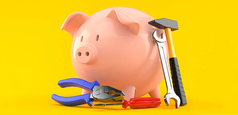 Piggy Bank And Fixing Tools