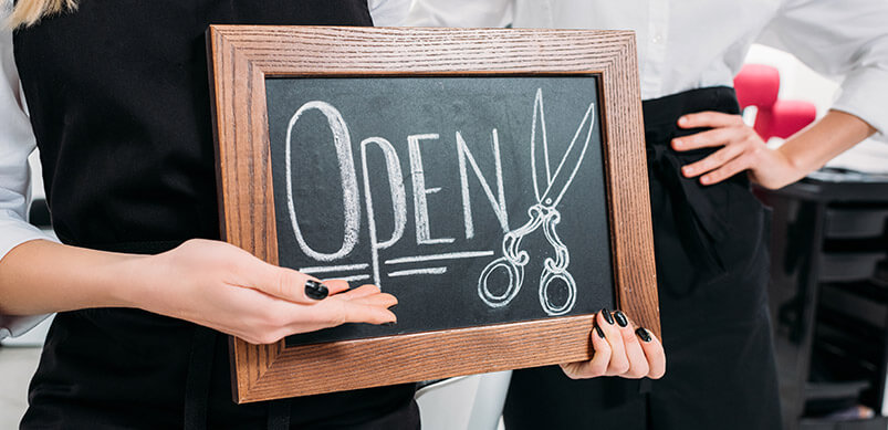Hairdressers Sign Saying Open