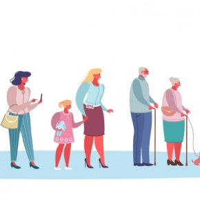 Animation Of People In A Queue