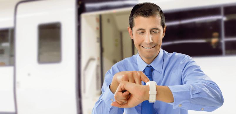 Man Getting Train Updates From Smartwatch