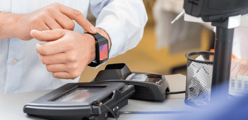 Man Using Smartwatch To Pay