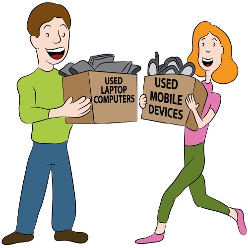 Animation Of People With Boxes Of Gadgets