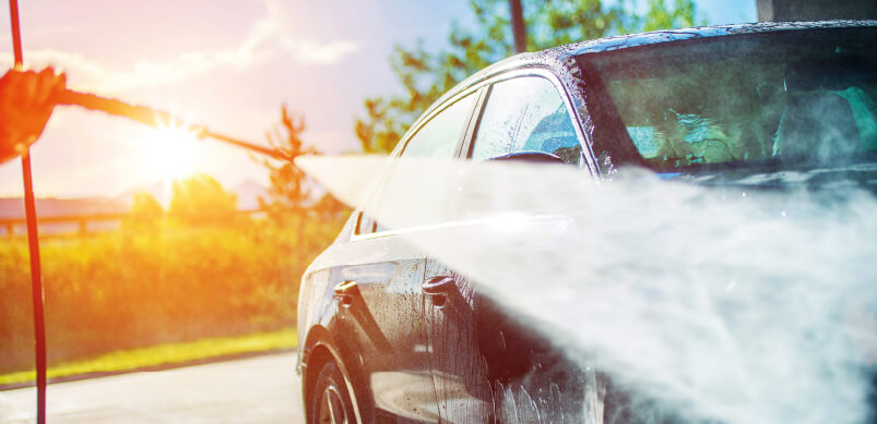 Cleaning Car With Pressure Washer