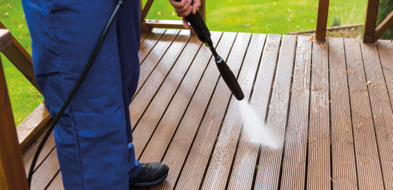 Cleaning Patio With Pressure Washer