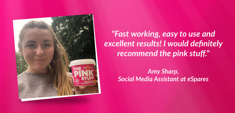 Amy Holding Pink Stuff With Quote