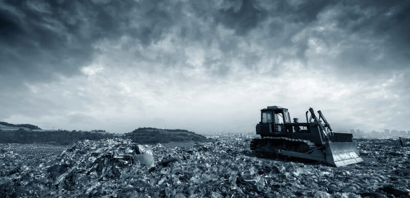 Black And White Photo Of Landfill