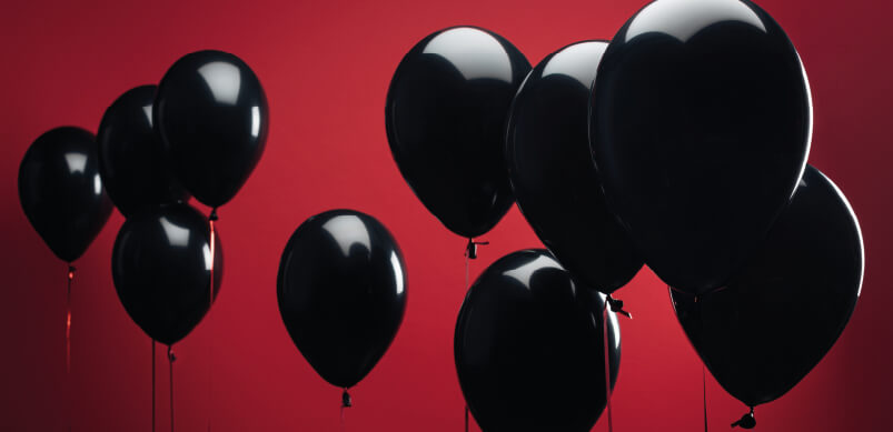 Black Balloons On Red Background