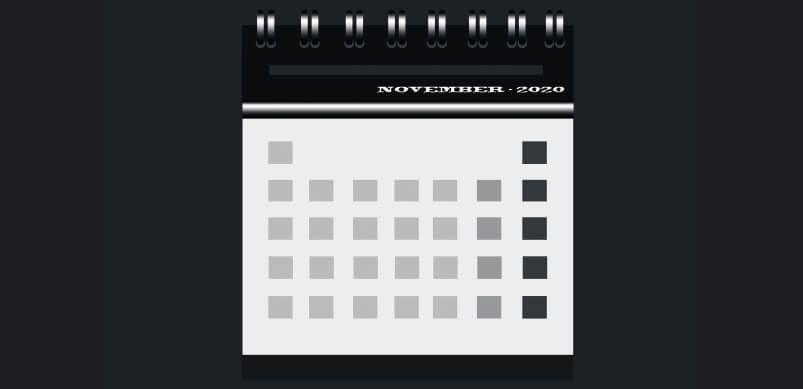November Calendar In Black