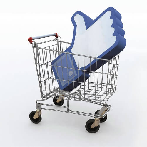 Shopping Trolley With Facebook Thumbs Up