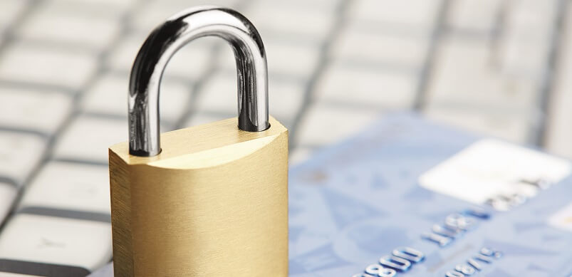 Keyboard And Bank Card With Padlock