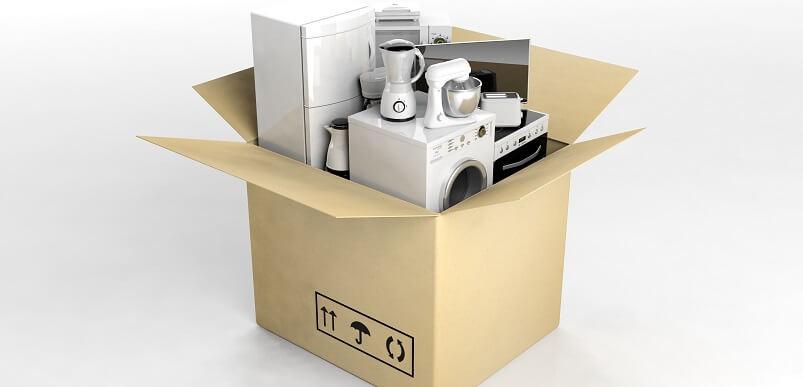 Household Appliances In Cardboard Box