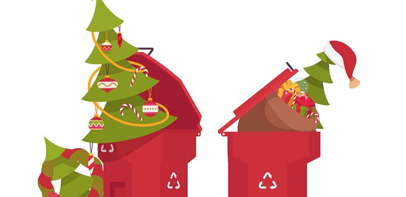 Christmas Trees And Gifts In Recycling Bin