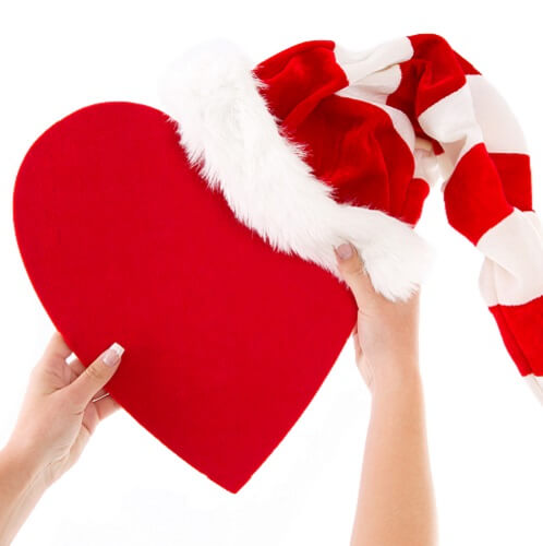 Red Heart With Santa Hat