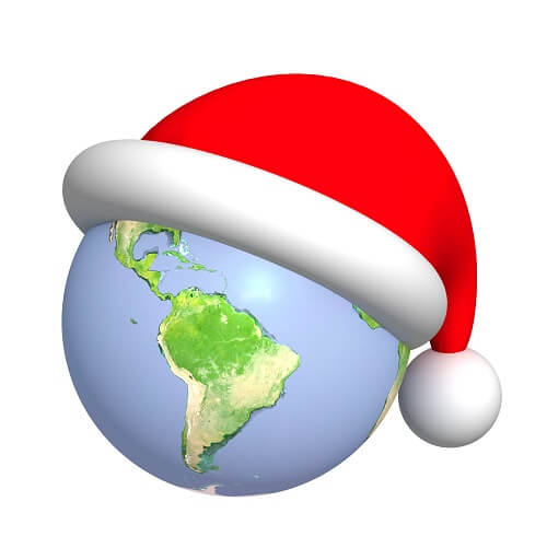 Map Of World With Santa Hat