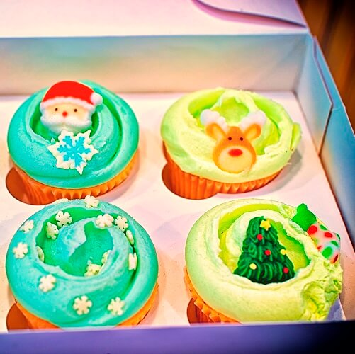 Christmas Decorated Cupcakes In Box