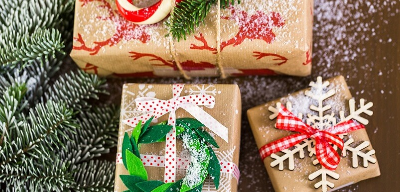 Christmas Presents Wrapped In Recyclable Paper